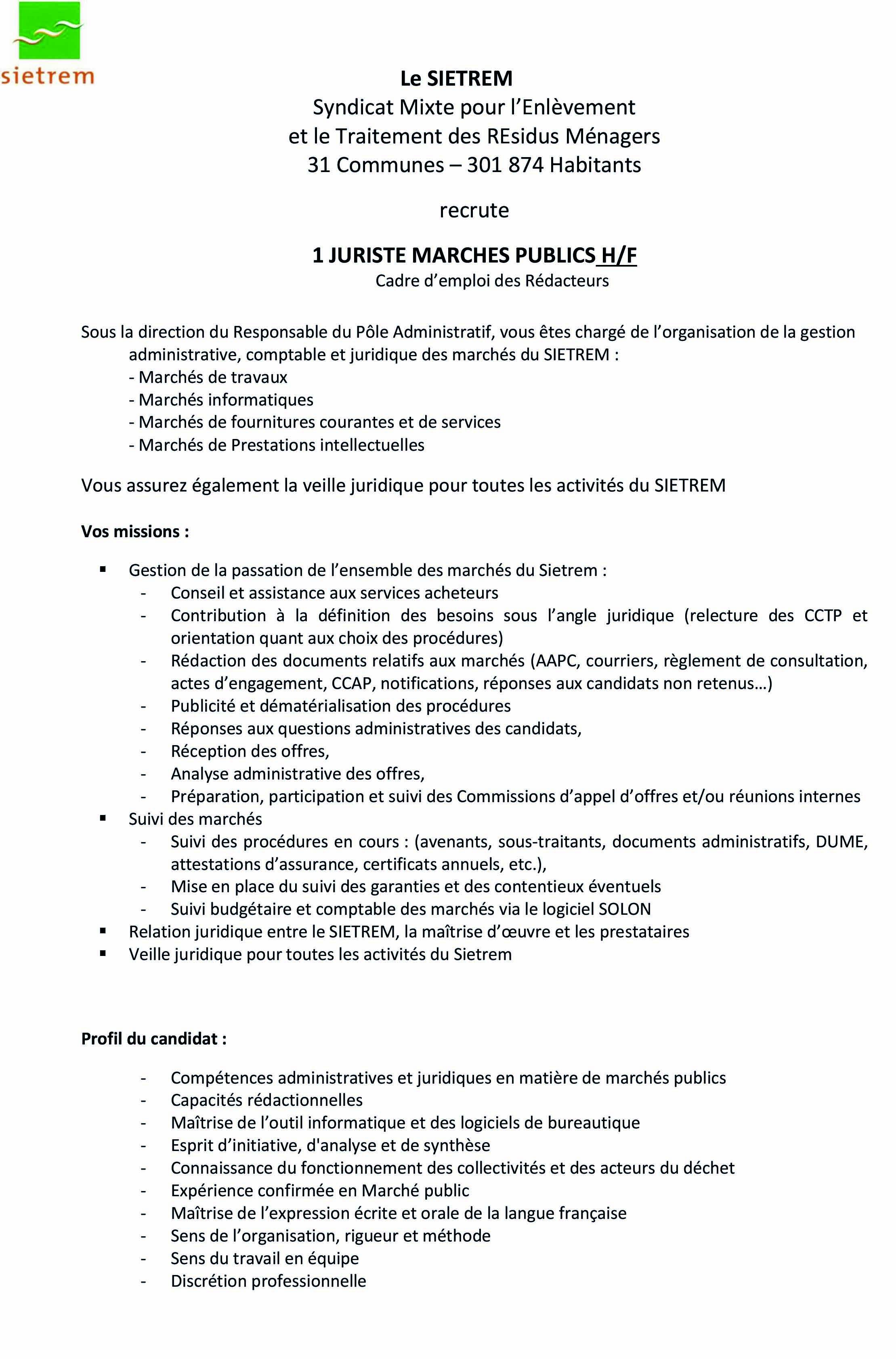 221b1be94d7 Recrutement   Juriste marchés publics